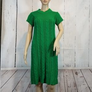 Womens Small Green Sweater Dress Cable Knit